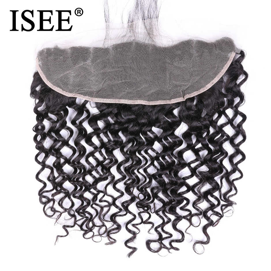 ISEE HAIR Brazilian Deep Wave Frontal Lace Closure With Baby Hair 100% Remy Human Hair Extensions 13*4 Hand Tied Hair Extension