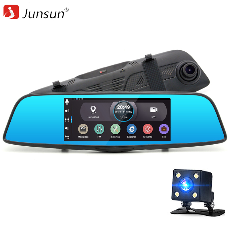 New 7 Touch Car DVR Android Rearview mirror camera parking recorder GPS navigation WiFi 16GB Car DVR Video Dual lens Dash cam 2016 new 5 0 touch android bluetooth dash camera parking car dvr rearview mirror video recorder vehicle gps navigator free maps