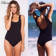 1f16c9beab3b biseafairy New 2019 Sexy One Piece Swimsuit Female Chic Solid Scalloped  Trim Brazilian Monokini Swimwear Women