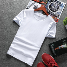 цена на Short Sleeved T-Shirt For Men New Summer Simple White And Black Solid Color Slim Round Neck Elastic Cotton Bottoming T-Shirt