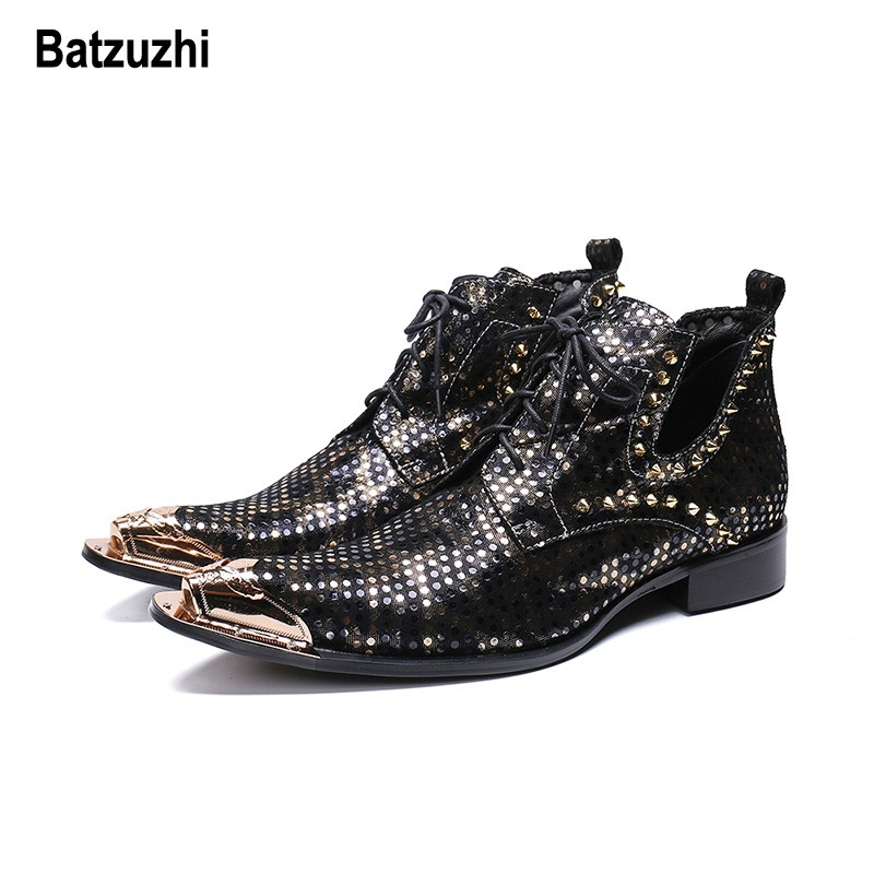 4ec6cdb142f Batzuzhi Italian Style Men Boots Red Leather Ankle Boots Pointed Toe ...