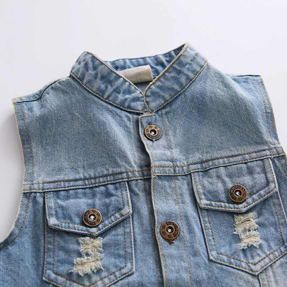 3-4 T เสื้อเด็กทารกเด็กผู้หญิงกางเกงยีนส์ Babe Denim เสื้อกั๊ก Outerwear เด็กเสื้อผ้าฤดูใบไม้ผลิฤดูใบไม้ร่วงเสื้อผ้าเด็กเสื้อกั๊ก