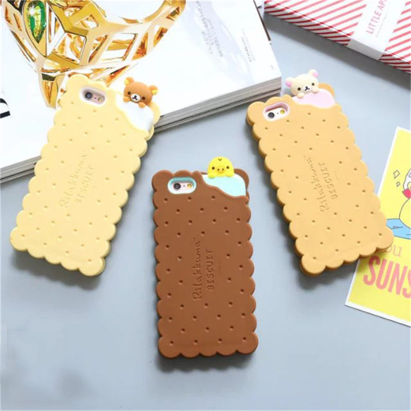 buy online 10ccc 59595 US $3.78 5% OFF|Rilakkuma cute cartoon cookies 3d silicon phone case cover  for iphone 7 6 6s 6splus 8 X XR XS funny lovely rubber soft gel case-in ...