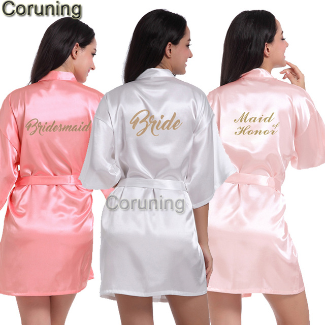 b942af4059 RB70 2017 Sexy Bridal Party Robe Letter Bridesmaid on the Robe Back Women  Short Satin Wedding Kimono Sleepwear Get Ready Robes