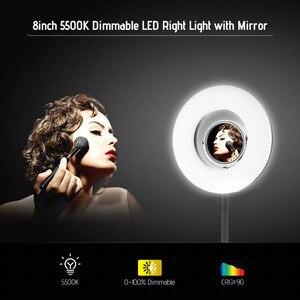 Image 5 - Andoer Masa Üstü 8 inç 5500 K LED Video halka ışık 24 W makyaj aynası Deskclip Bükülebilir Kutup Fotoğraf Canlı Video aydınlatma