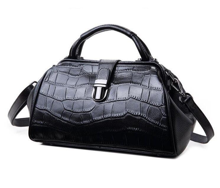 MS 100% bolsos de moda de cuero genuino, 2019 nuevo hombro baotou capa de cuero de cocodrilo líneas inclinado bolso de hombro-in Cubos from Maletas y bolsas    1