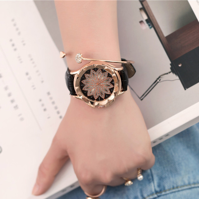 Relogio Feminino New Women 's Fashion Leather Band Analog Quartz Diamond Wrist W