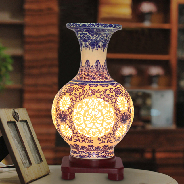 Led Lamp Design For Vase Antique Chinese Flower Vase Lamp
