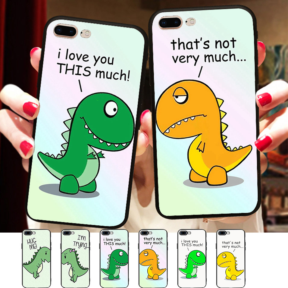 Minason Funny Dinosaurs Cartoon Silicon Case Cover For <font><b>Samsung</b></font> Galaxy S7 edge <font><b>S8</b></font> S9 Best Friends BFF <font><b>Capinha</b></font> <font><b>de</b></font> <font><b>Celular</b></font> image