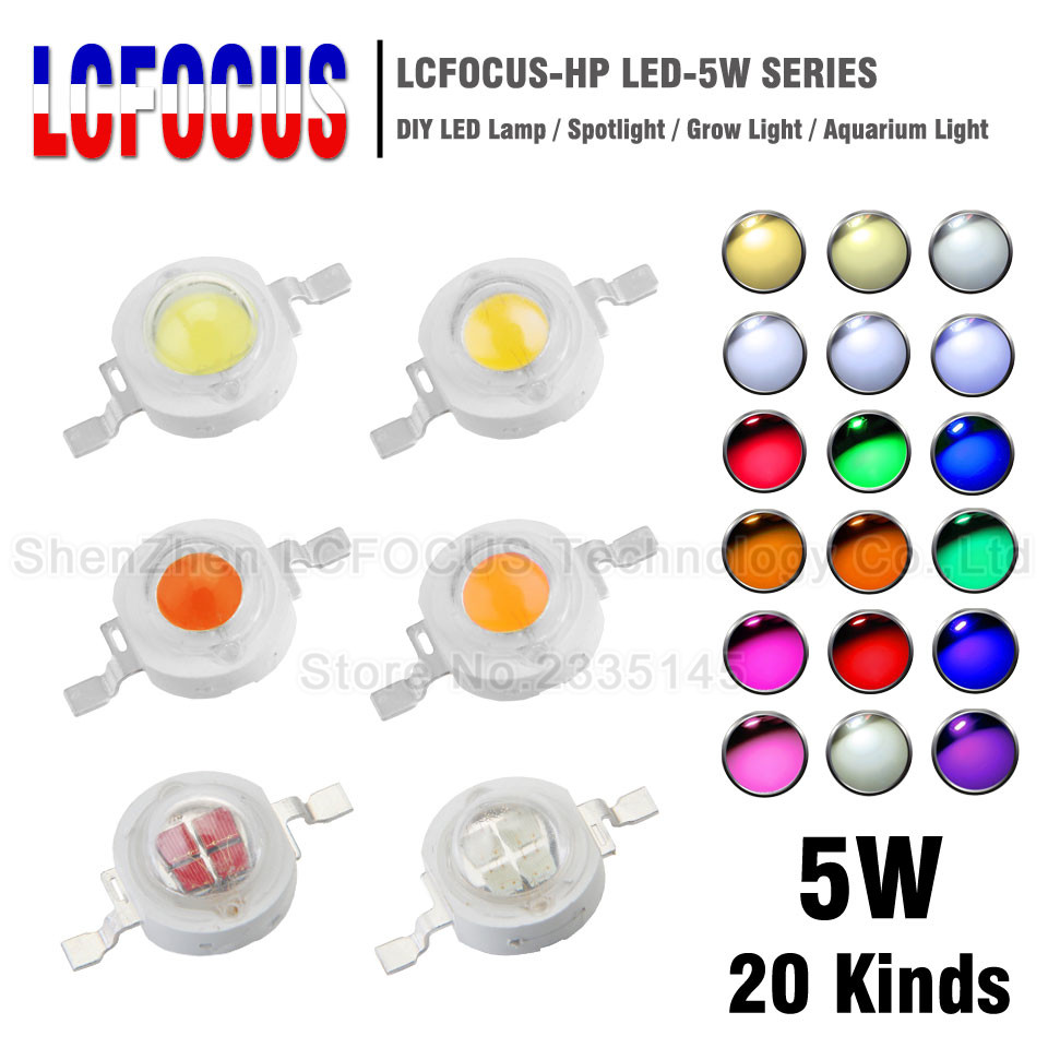 10pcs High Power LED 5W COB Beads Chip 5 W Watt Natural Cool Warm White Red Blue Green Yellow 440nm 660nm Grow SMD Light Diode