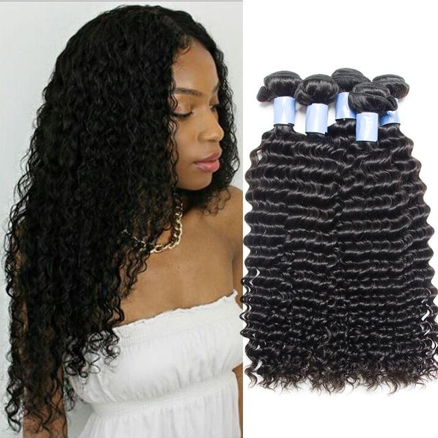 Malaysian Curly Hair Extensions Alibele Virgin Hair Malaysian Deep Curly Wave Hair  Bundles Malaysian Human