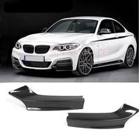 Carbon Fiber Car Front Lip Splitters Bumper Aprons Cup Wings Flaps For BMW 2 Series M235i M240i F22 M Sport 2014 2018