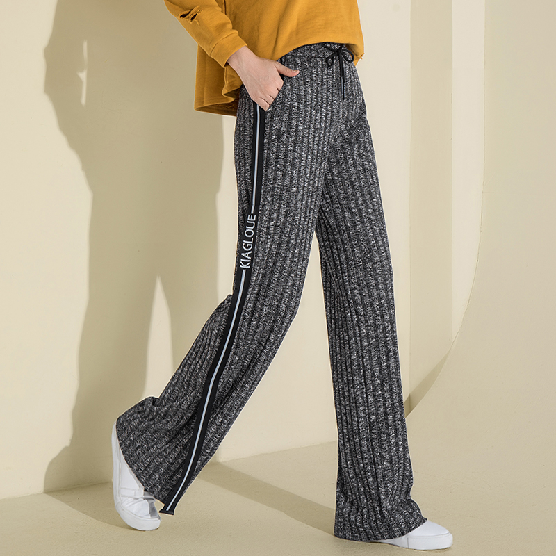 Women Knitted jogger   Pants   High Waist   Wide     Leg     Pants   Striped Elastic Waist Sweatpants Stretch Winter Warm Thick   Pants   trousers