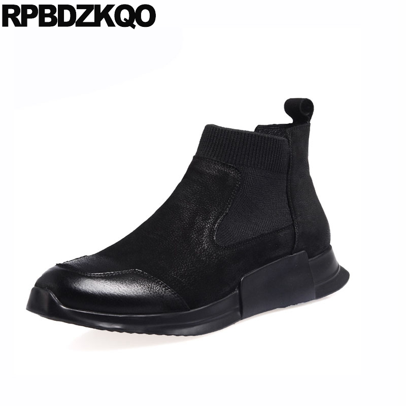 full grain high quality trainer booties sneakers men slip on casual shoes black boots comfortable chelsea winter autumn top fur black super warm winter boots russian style full grain men fashion trainer sneakers high top genuine leather booties fur shoes