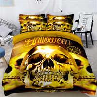 Ensemble de literie squelette crâne 3D Halloween impression numérique housse de couette draps taies d'oreiller double reine Super king Size 3/4/6 pièces