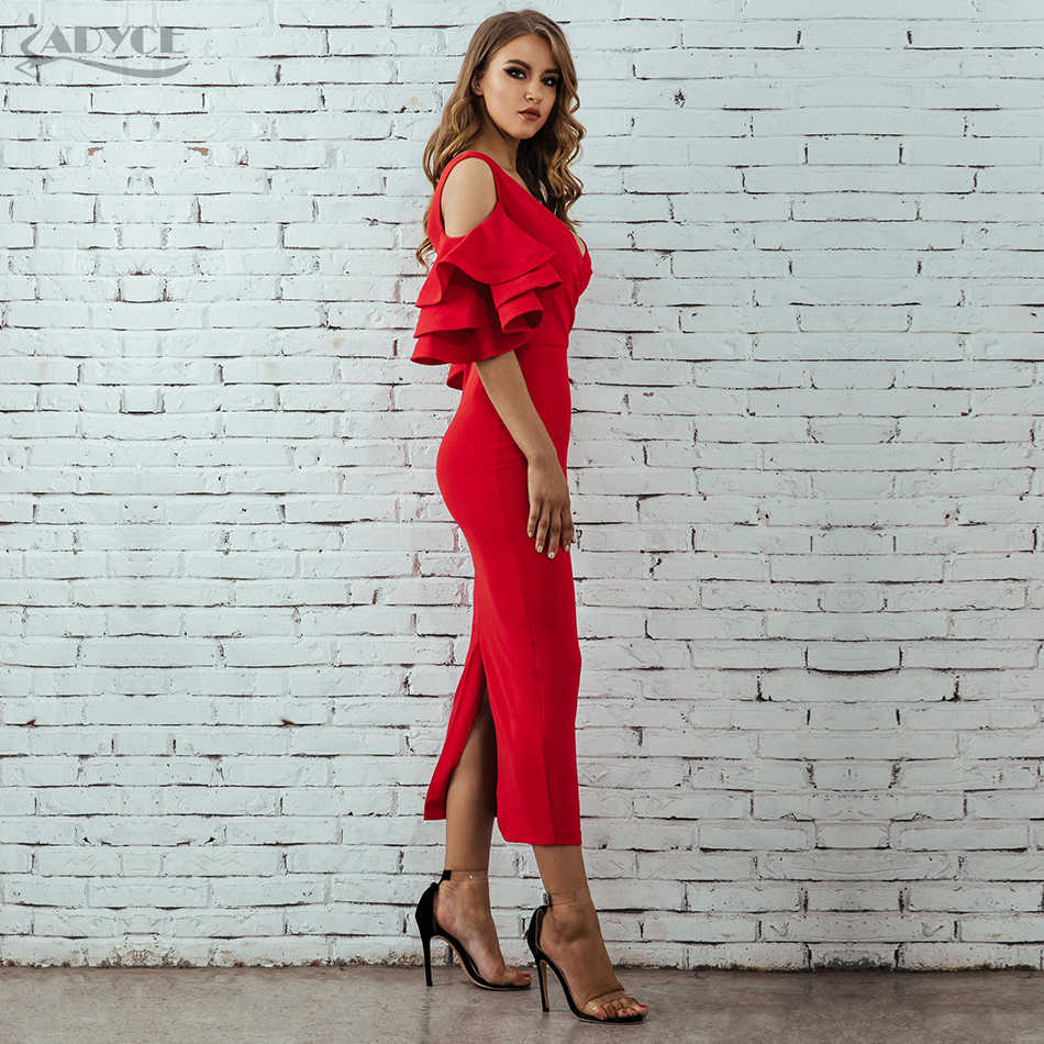 Adyce 2019 новое летнее женское Клубное платье Vestidos вечерние платья знаменитостей Желтый Красный рябь короткий рукав-бабочка миди Клубные платья