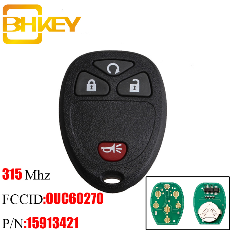 BHKEY 4Buttons Remote Car Key DIY For Chevrolet AVALANCHE SILVERADO <font><b>TAHOE</b></font> 2007-2014 OUC60221 OUC60270 15913421 Original key image