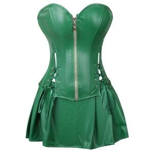 Image 3 - סקסי עור שמלות מחוכי חצאית בורלסק קדמי רוכסן גותי פאנק steampunk bustier מחוך overbust korsett בתוספת גודל חום