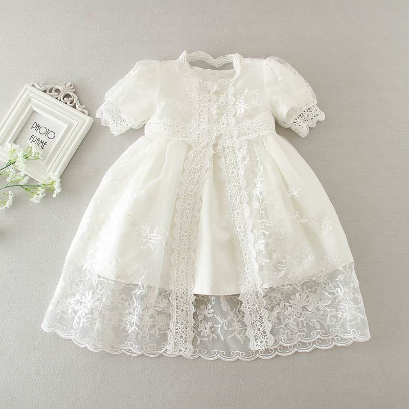 Retail New Newborn Baby Girl Christening Gown 3pcs Sets Infant Girls Princess Lace Baptism Dress Toddler Baby Clothes E1785