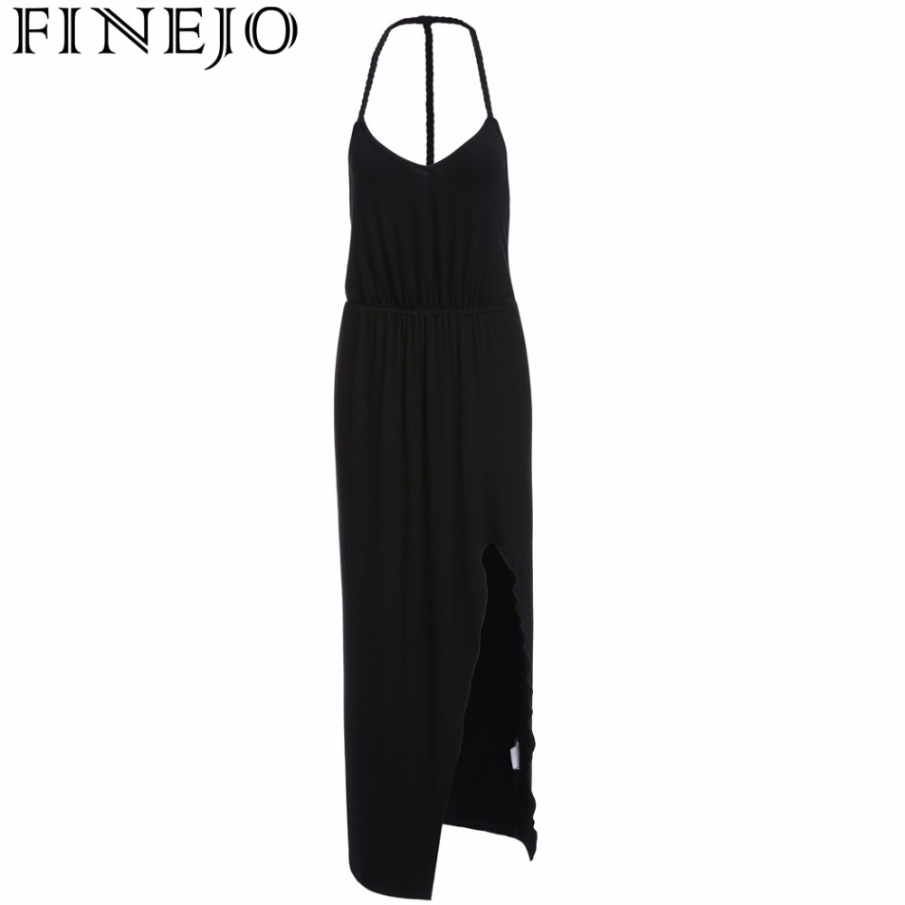 Black dress maxi - Finejo Women Halter Dress Sexy Strap Deep V Neck Summer Backless Slit Casual Party Long Maxi Dress Black Gray Plus Size S Xxl