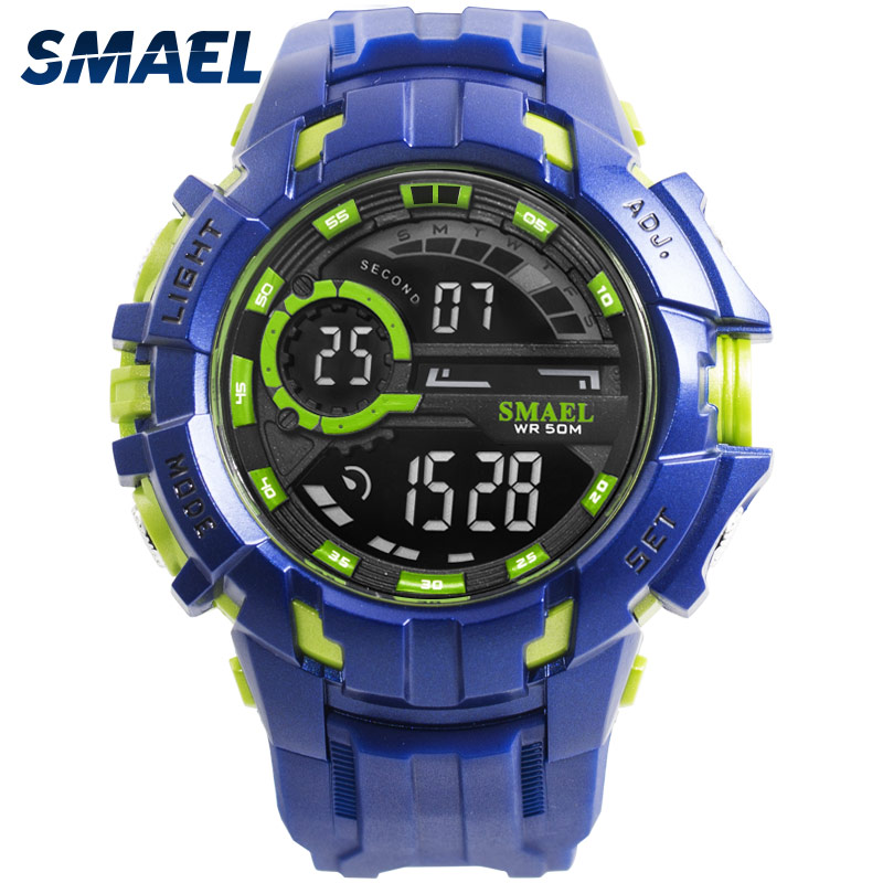 Watch Men Waterproof Shock Resist SMAEL Men Watches Relogio Masculino Automatic Sport Watches Alarm 1610 Digital Watch Men Sport