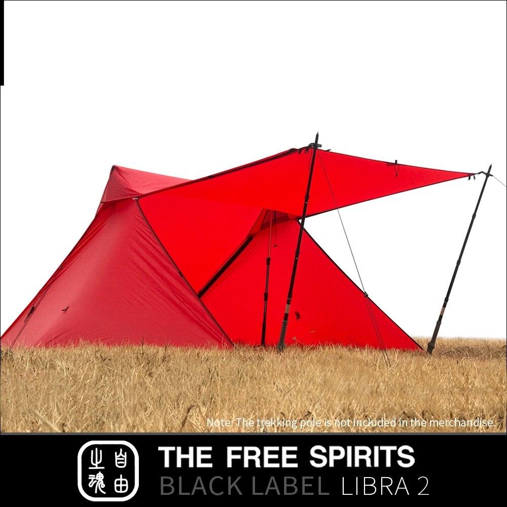 Les spiritueux libres TFS Libra2 pas de pôles tente 2 faces revêtement silicone 2 personnes 3 saisons ultra léger imperméable Camping étiquette noire - 5