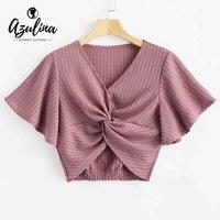 AZULINA 나비 소매 스트라이프 트위스트 자르기 최고 5 색 패션 여름 여성 T 셔츠 V 넥 반팔 티셔츠