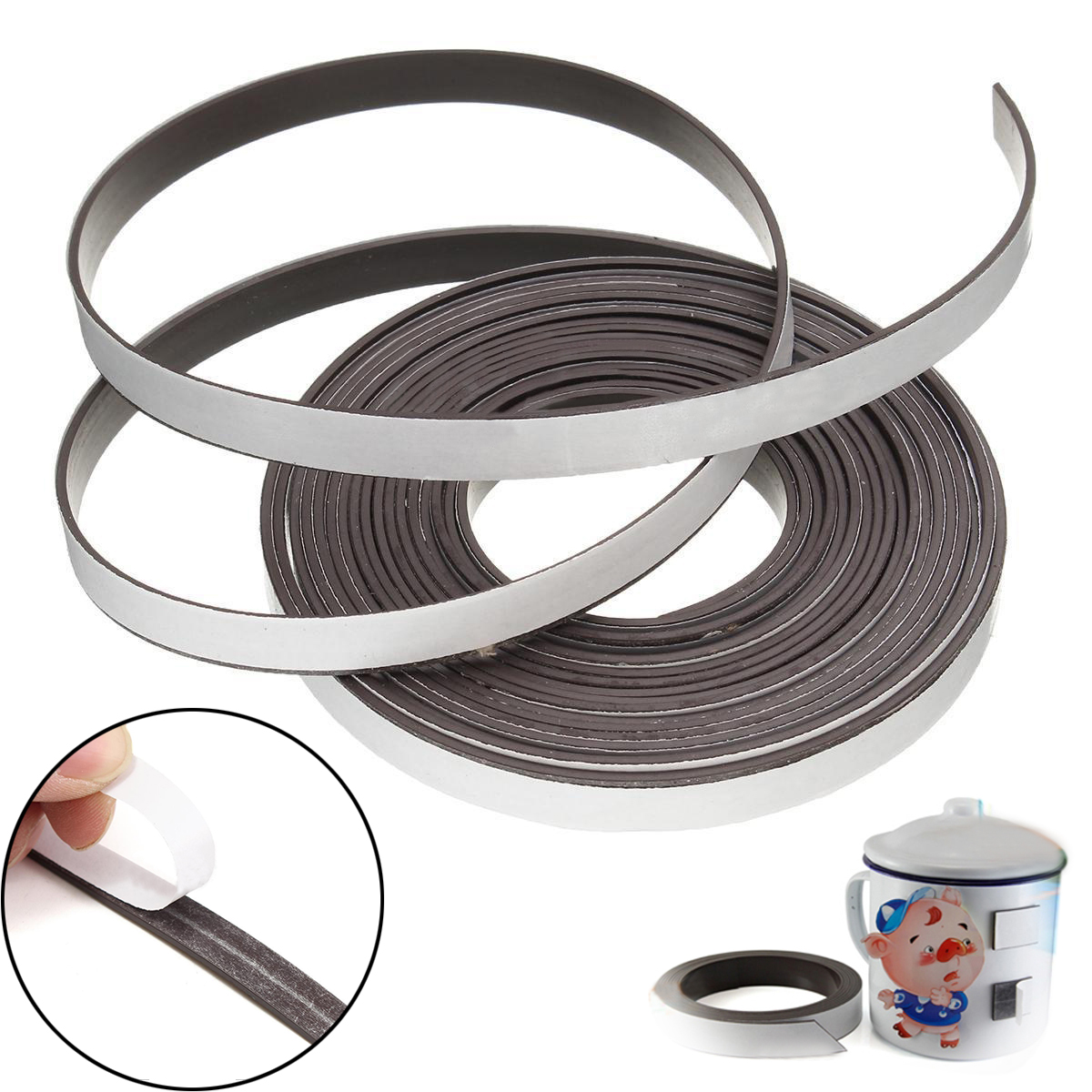New 5M Rubber Magnetic Stripe Self Adhesive Flexible Magnet DIY Strip Tape For Home School Supplies free shipping 2 meters self adhesive flexible magnetic strip magnet tape width20x1 5mm ad teaching rubber magnet