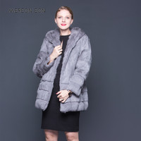 2018 New Fashion Women Genuine Rabbit Fur Coat Natural Rabbit fur Jacket Women Slim Fur Coat Hooded fur coat skirt a variety of
