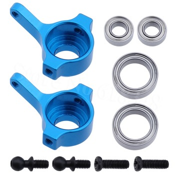 10Pairs/Lot Aluminum Front Steering Hub Carrier (L/R)(Al.) With Ball Bearings A959-05 Upgrade Parts For WLtoys 1/18 RC Car Blue image