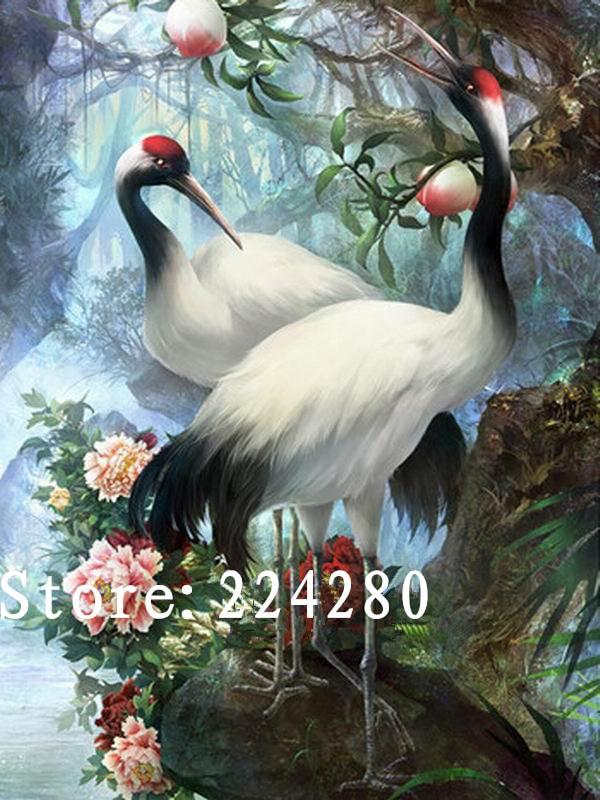 Needlework Embroidery White Crane Animal Forest HD DIY DMC 14CT Unprinted Cross stitch kits Arts Pattern