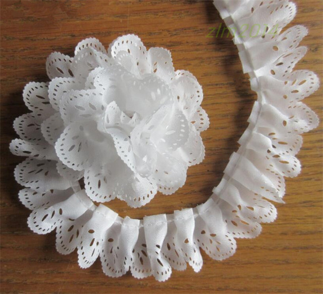 5yards/Lot White 1-layer Pleated Holes Embroidered Lace Trim Ribbon Fabric  DIY For