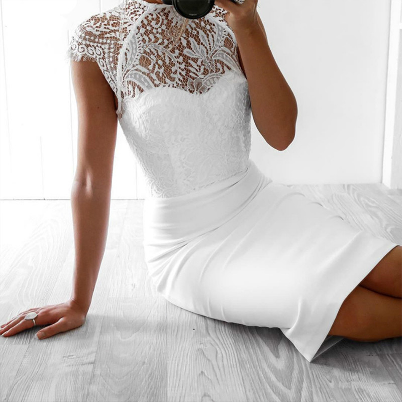 2019 New Summer Women Bandage Dress Vestidos Sexy White Black Lace Short Sleeve Hollow Out Club Dress Evening Party Dress