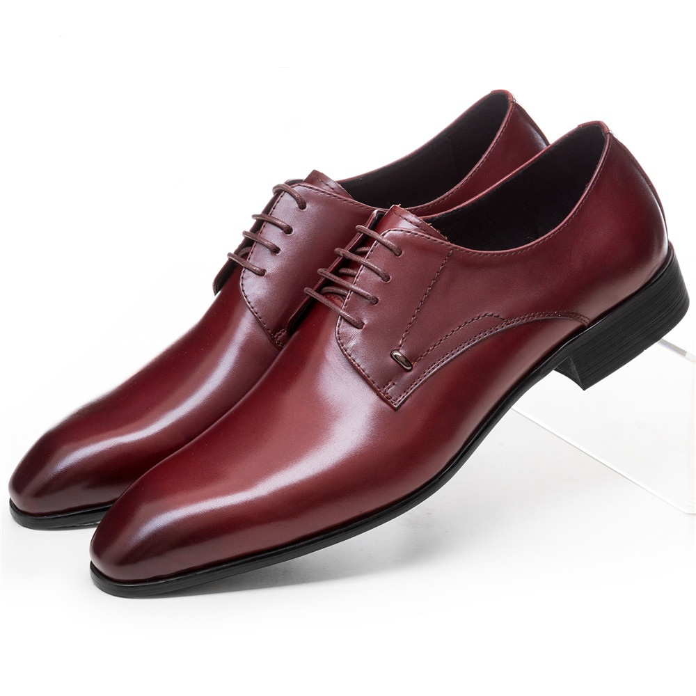 Fashion pointed toe wine red / black derby shoes mens dress shoes patent leather wedding shoes mens business shoes
