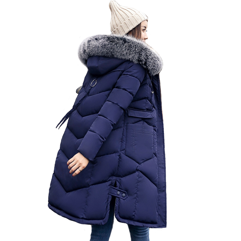 2019 New Arrival Winter Jacket Women Warm Thicken Long Fur Womens Winter   Parka     Parkas   Hooded Female Coat Cotton Padded