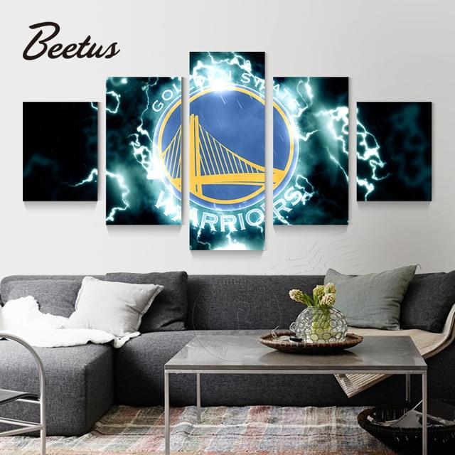 5 Panel Wall Art Sport Game Logo Golden State Warriors Basketball Home Decoration Art Modular Pictures For Living Room Unframed 1