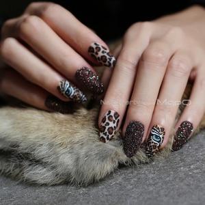 Matte tiger Nail Acrylic Fake nail black box Leopard Accent Press on Nails coffee flash stiletto false nails brown glitter Gold(China)