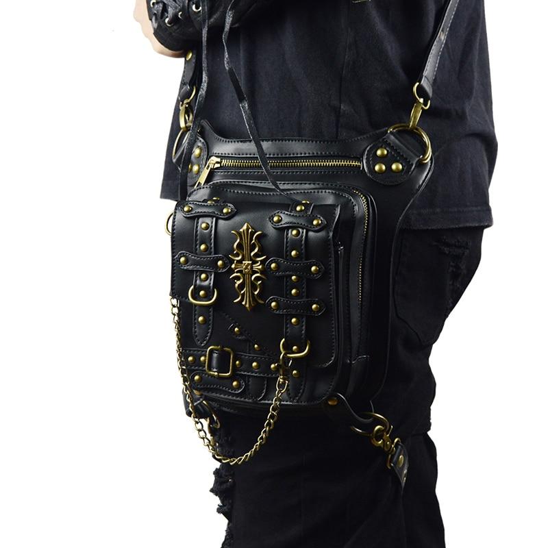 New Launched Black Steampunk Bag Vintage Rivet Retro Thigh Waist Bags Men Women Unisex Crossbody Phone Shoulder Messenger Bag aerlis men women canvas retro 6inch phone portable small waist bag
