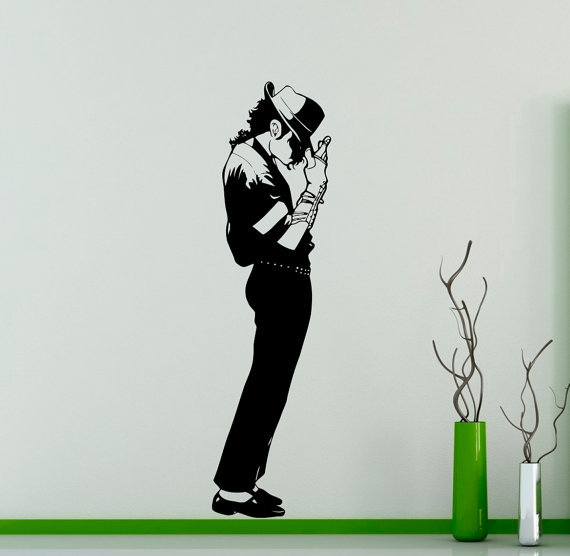 Dacing michael jackson pattern wall sticker famous star art design wall mural for home bedroom decor art vinyl wallpaperd 219 in wall stickers from home