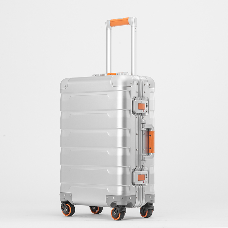 New Fashion 100 Aluminum Alloy pull rod suitcase 20 24 inch metal luggage fashionable new type