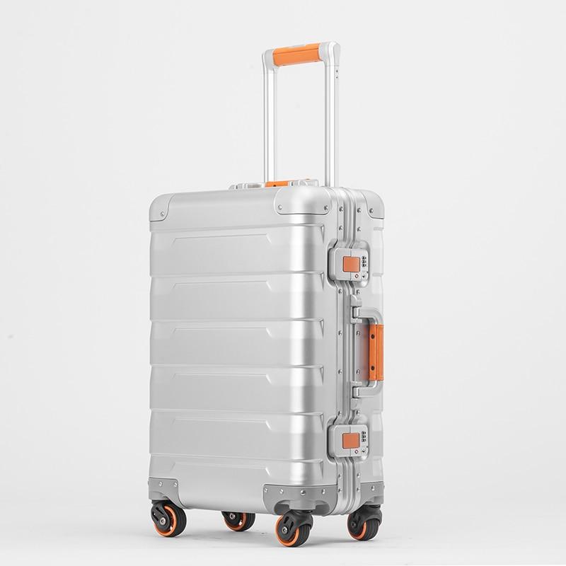 New Fashion 100 Aluminum Alloy pull rod suitcase 20 24 inch metal luggage fashionable new type