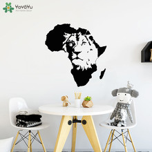 YOYOYU Wall Decal King Of The Jungle Africa Animal Map Vinyl Stickers Lion Poster Art Mural Adhesive Kids Room Decor  CT771