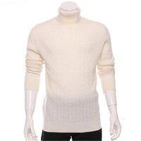 100% коза, кашемир витой вязки Мужская мода Водолазка; свитер H straight белый 4 цвета S/2XL