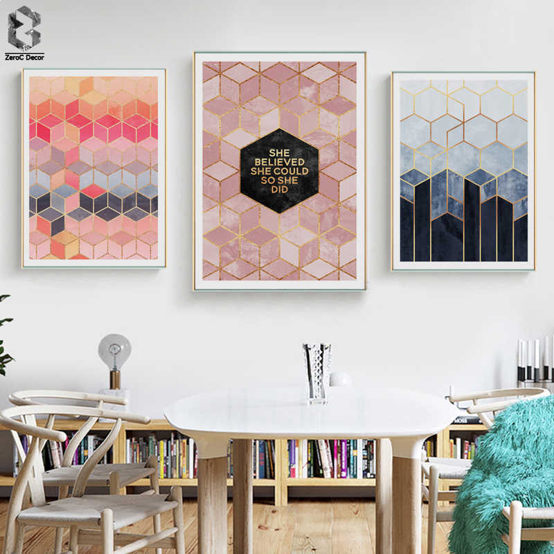 Nordic Geometric Cube Canvas Posters and Prints Scandinavian Minimalist Wall Art Painting Picture for Living Room Decoration