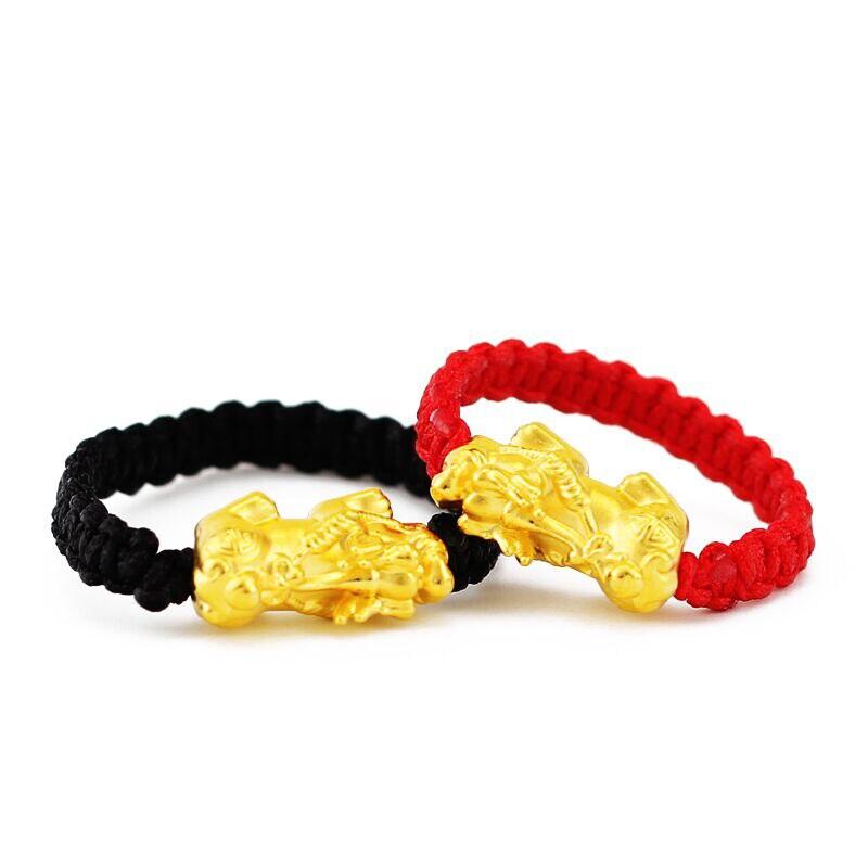 Bague en or jaune 24K pur 3D 999 or Pixiu Dragon Son anneau en tissage rouge (toutes les tailles peuvent être personnalisées)