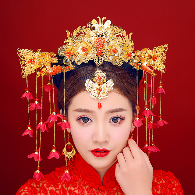New Luxury Chinese Wedding Brides Hair Accessories Jewelry Flower