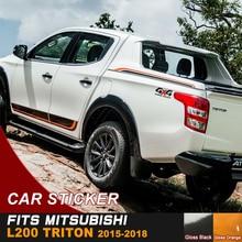 купить Car stickers 6 PC side door rear trunk Two-tone styling graphic vinyl for mitsubishi l200 triton 2006-2015 онлайн