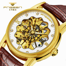 Relogio Masculino Watches Men Fashion Skeleton Leather Band Watch Tourbillon Mechanical Hodinky Business Wristwatch Reloj Hombre