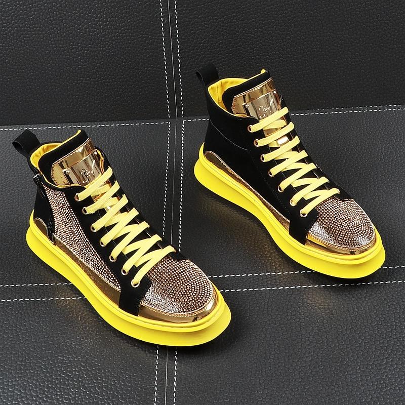 CuddlyIIPanda luksusowa marka mężczyźni moda chodaki trampki wiosna jesień Casual wysokie buty mężczyźni kryształ buty błyskawiczny Bling buty w Męskie nieformalne buty od Buty na  Grupa 2