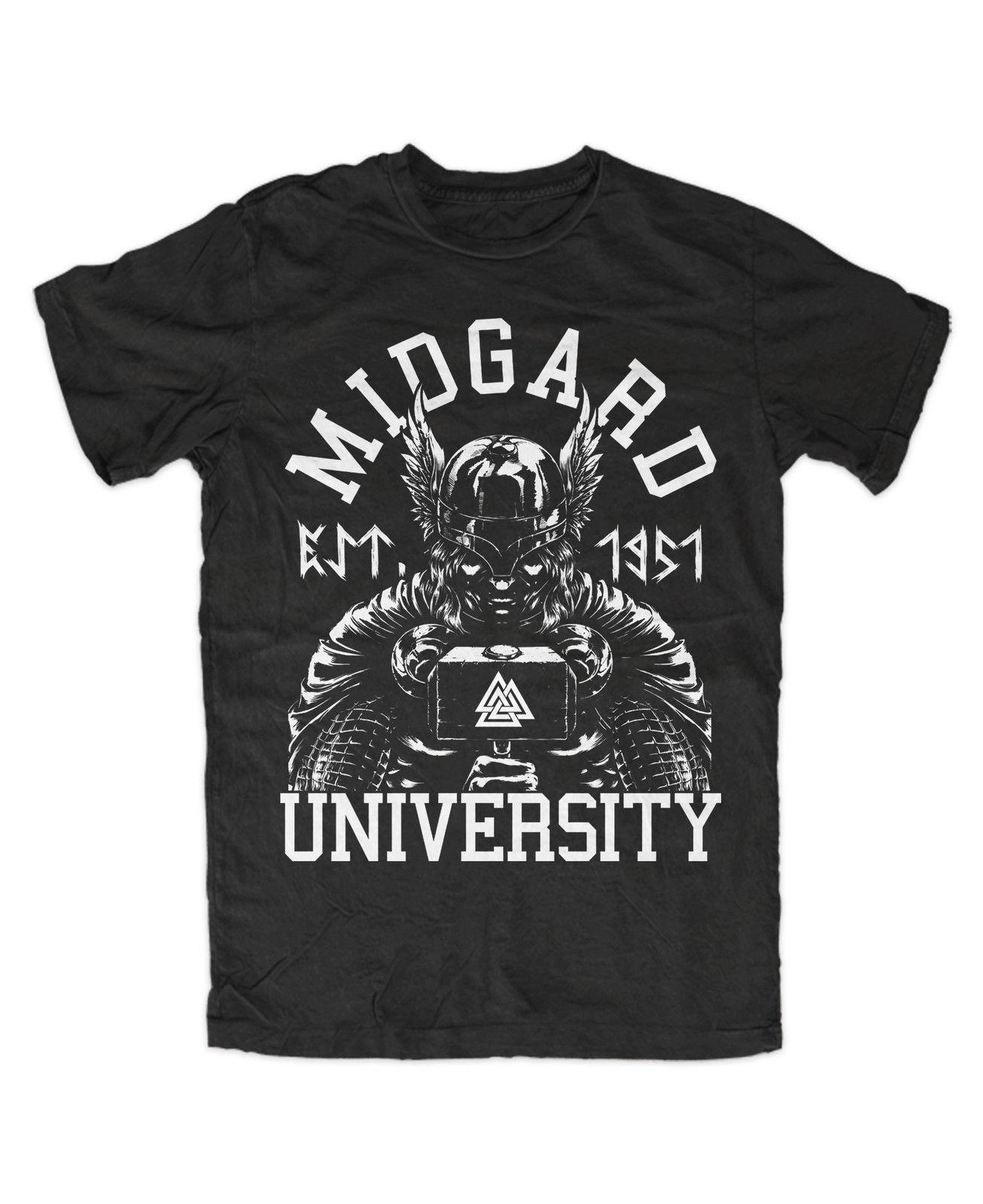 Midgard Universität T-Shirt Schwarz Odin, Thor, Mjolnir, Loki, Runen, Wikinger T Shirt Lustiges T-shirt männer T Shirt Kurzarm Tops